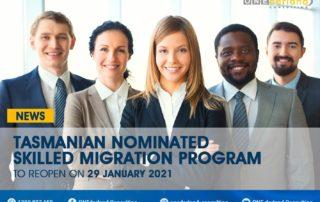 Tasmanian Nominated Skilled Migration Program Reopens On 29 January 2021
